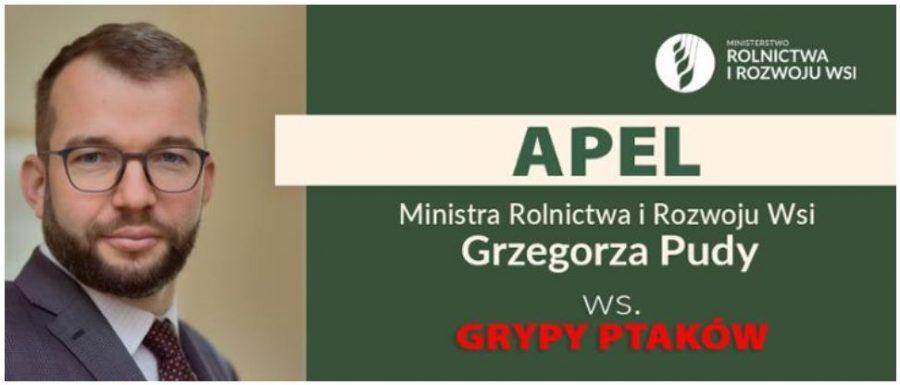 Apel Ministra Rolnictwa i Rozwoju Wsi w sprawie ptasiej...